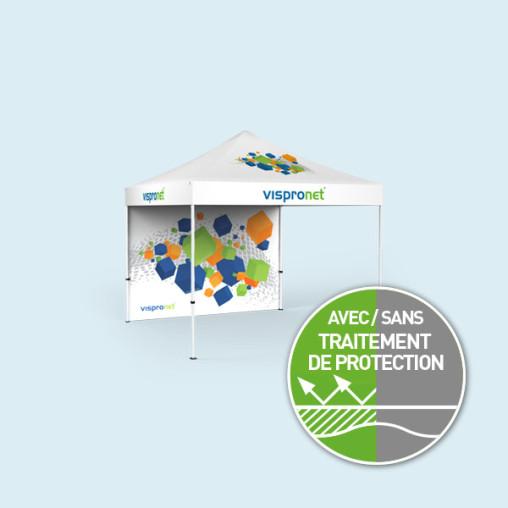 Tente pliable Select 3 x 3 m avec 1 paroi pleine imprimée