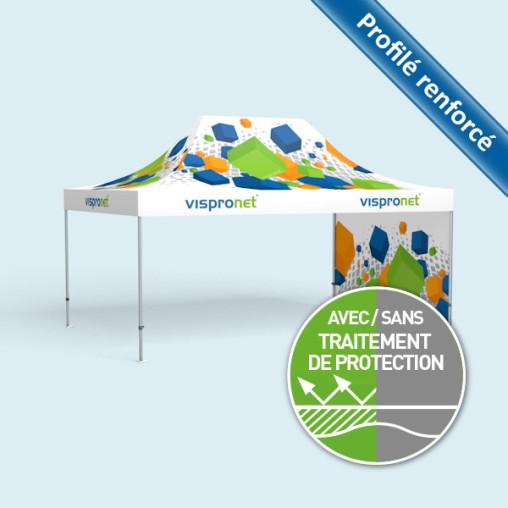 Tente pliable Select 4 x 6 m imprimée, avec une paroi (visuel à l'intérieur)
