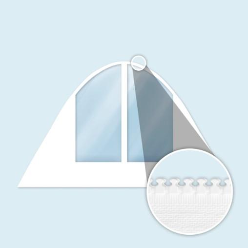Cloison blanche pour tente étoile avec fenêtres cintrées, larges