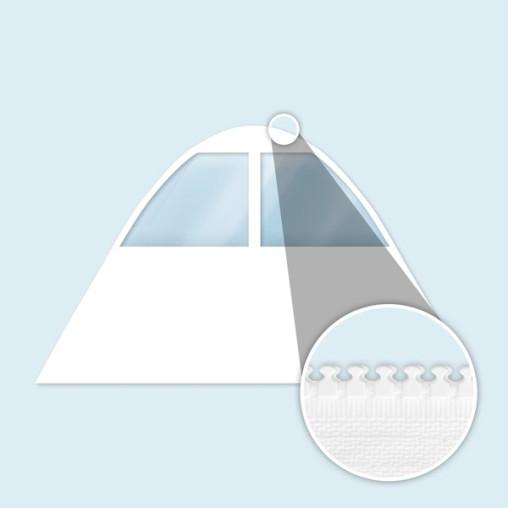 Paroi blanche pour tente étoile, avec fenêtres en forme de trapèze