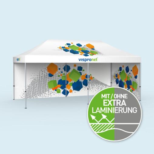 Tente pliante Select 3 x 6 m avec 2 parois pleines imprimées