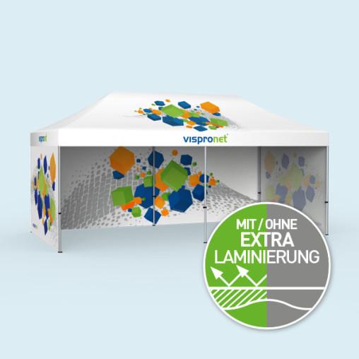 Tente pliable Select 3 x 6 m avec 3 parois pleines imprimées