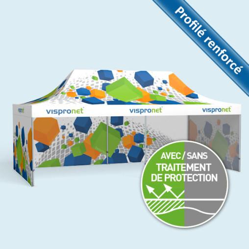 Tente pliable Select 4 x 8 m avec 3 parois fermées, le tout imprimé