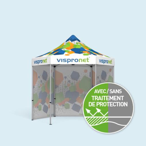 Tente pliable Select Hexagon 3 m avec 3 cloisons pleines, imprimées