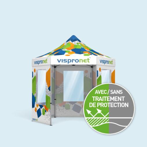 Tente pliable Select Hexagon 3 m avec 5 parois avec fenêtre, avec impression