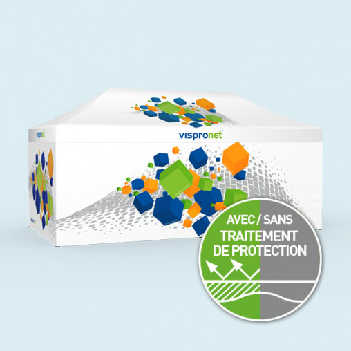 Tente pliante Basic 3 x 6 m imprimée, avec 4 parois
