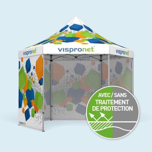 Tente pliable Select Hexagon 4 m, imprimée, avec 4 parois pleines