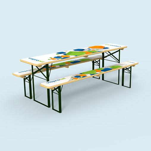 Set de brasserie : 1 table & 2 bancs de brasserie imprimés