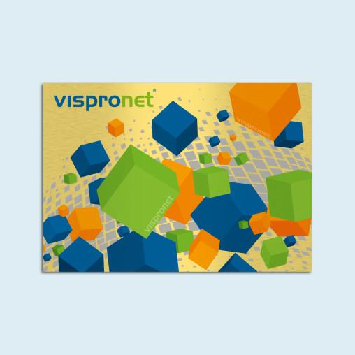 Panneau publicitaire aluminium composite, couleur or brossé - paysage