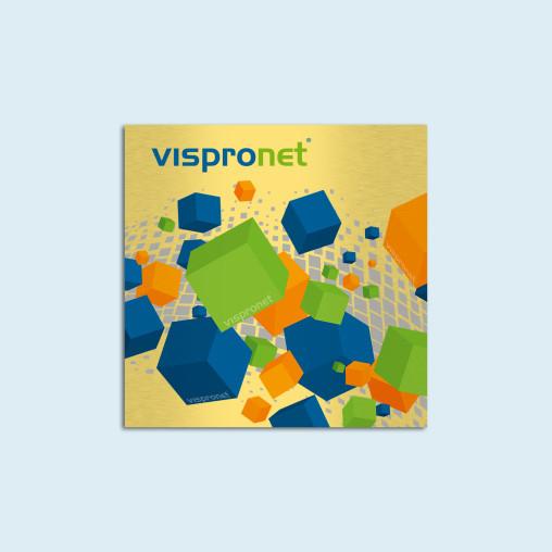 Panneau publicitaire en aluminium composite, couleur or brossé - carré