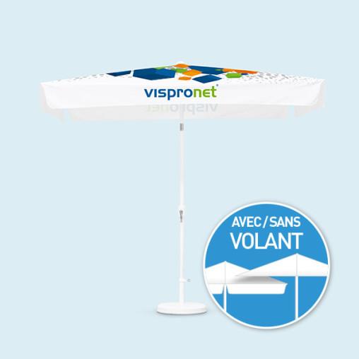 Petit parasol avec manivelle, toile en 4 parties, rectangulaire