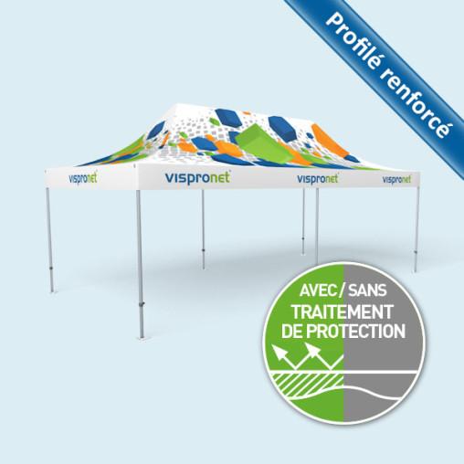 Pavillon pliant Select 4 x 8 m, toit + volants imprimables, sans parois