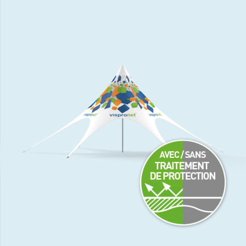Pavillon étoile ø 12 m imprimé, avec fermetures éclair pour cloisons de tente