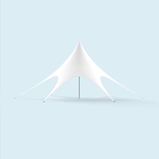 Chapiteau étoile ø 12 m blanc, avec fermetures éclair pr cloisons de tente