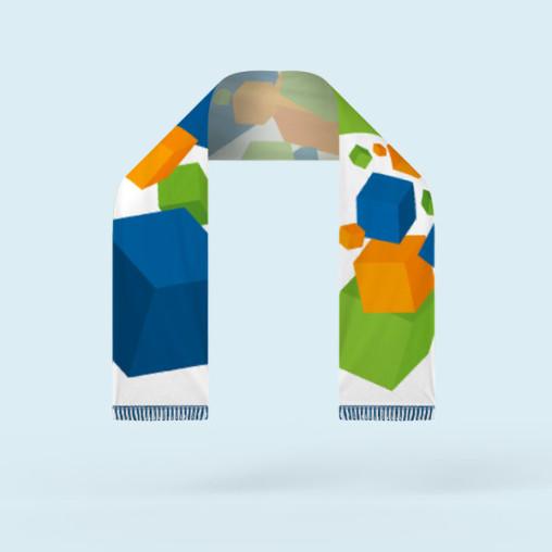Écharpe club, imprimable sur une face, avec franges