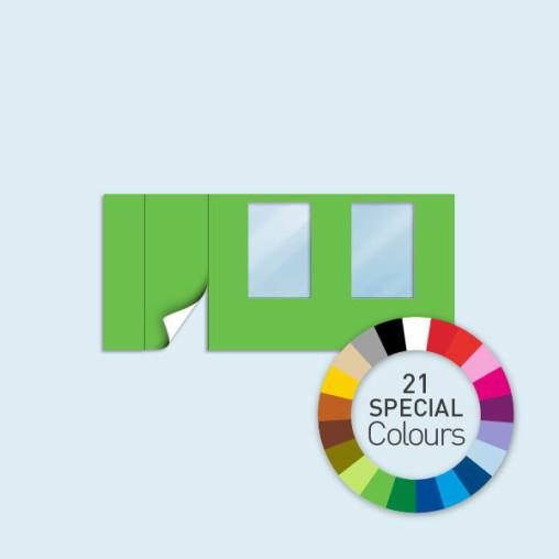 Paroi avec 1 porte à gauche + 2 fenêtres450 x 205 cm - existe en 21 coloris spéciaux