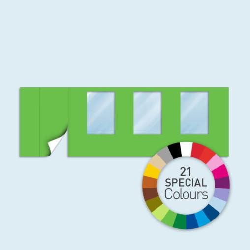 Cloison avec 1 porte à gauche + 3 fenêtres 600 x 205 cm, existe en 21 couleurs spéciales