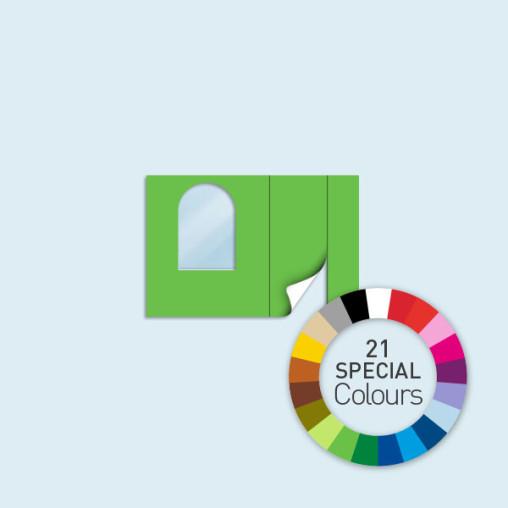 Cloison avec 1 porte + 1 fenêtre cintrée, 300 x 205 cm - 21 coloris spéciaux