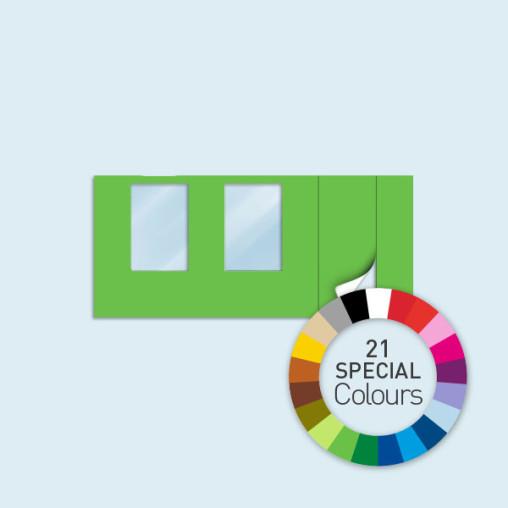 Cloison avec 1 porte à droite + 2 fenêtres 450 x 205 cm, in 21 Sonderfarben erhältlich