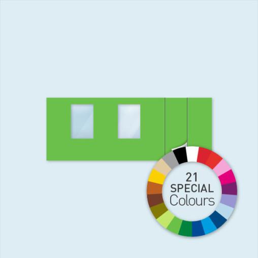 Paroi avec 1 porte à droite + 2 fenêtres 600 x 220 cm, existe en 21 couleurs spéciales