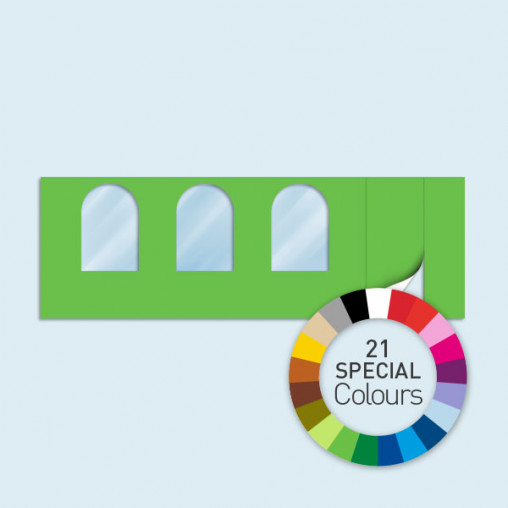 Paroi avec 1 porte à droite, 3 fenêtres arquées 600 x 205 cm, existe en 21 coloris spéciaux