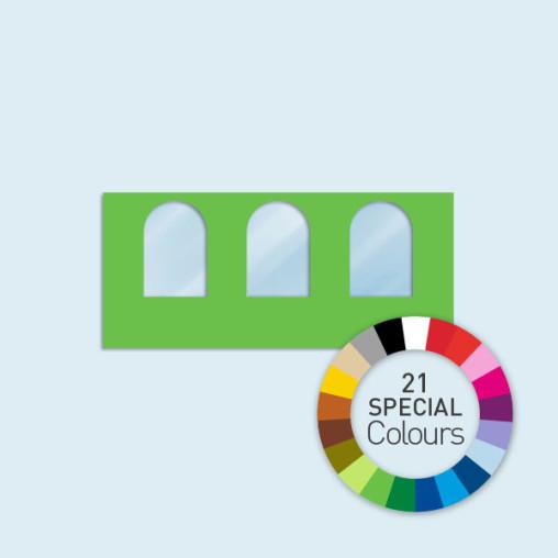 Paroi avec 3 fenêtres cintrées 450 x 205 cm Basic/Select, in 21 Sonderfarben erhältlich