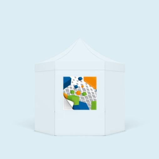 Bannière échangeable imprimée, format carré pour parois de tente,