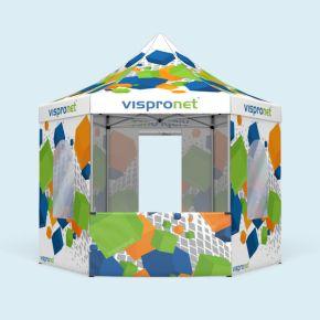 Tente pliante Select Hexagon imprimée, 4 m avec 6 cloisons au choix