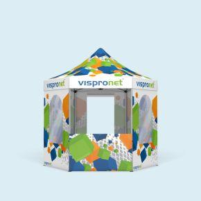 Tente pliable Hexagon 3 m, 6 parois - imprimées