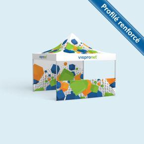 Tente pliable Select 4 x 4 m, imprimée, avec 2 parois dont une mi-hauteur