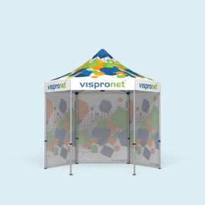 Tente pliable Select Hexagon 3 m avec 3 parois pleines, avec impression