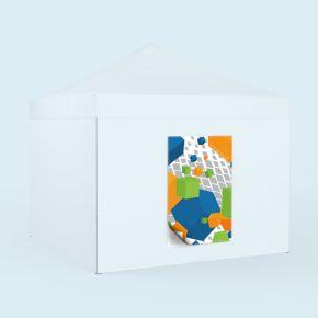 Bannière échangeable imprimée - format portrait, pour parois de tente