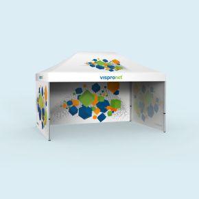 Tente pliable Select 3 x 4,5 m avec 3 parois pleines (1 visuel orienté vers l'intérieur)