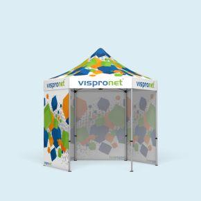 Tente pliable Select Hexagon 3 m, 4 cloisons pleines, avec impression