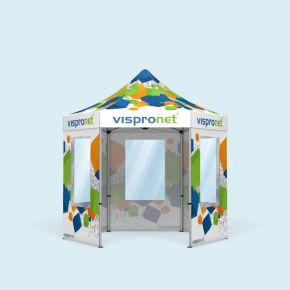 Tente pliable Select Hexagon 3 m, 5 parois avec fenêtres - imprimées