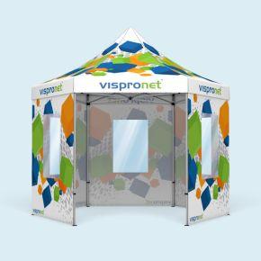 Tente pliante Select Hexagon 4 m, imprimée, avec 5 parois avec fenêtres