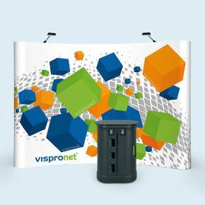 Stand parapluie Pop Up Magnet avec valise-comptoir à roulettes et éclairage