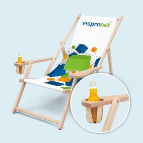 Chaise pliante bois / Chilienne - avec accoudoirs & porte-gobelet