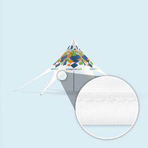 Chapiteau étoile - imprimé, bordé de ruban biais