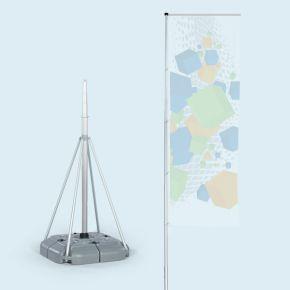 Mât télescopique T-Pole® 100 avec pied remplissable à l'eau, volume 70 l