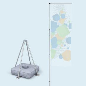 Mât de drapeau portable - T-Pole® 200 + pied croix + poids 50 l