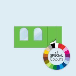 Paroi avec 1 porte à droite, 2 fenêtres arquées Basic/ Select 450 x 205 cm - tons directs, côtés avec fermetures éclair