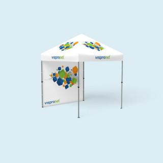 Tente pliante Compact imprimée, 2,5 x 2,5 m, avec 1 paroi pleine