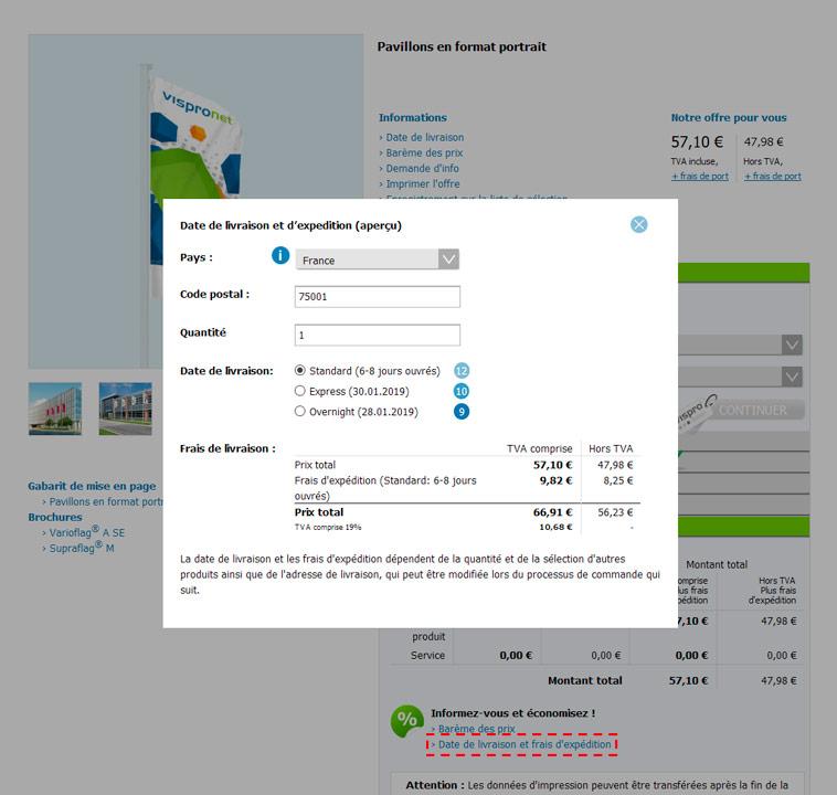 Versandkosten Produktdetailseite