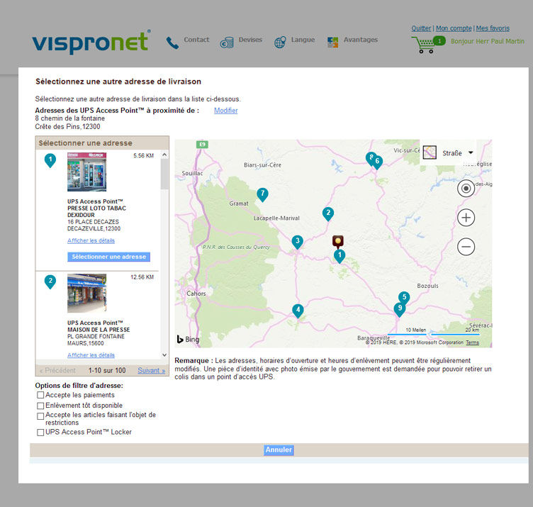 UPS Access Point™ Karte